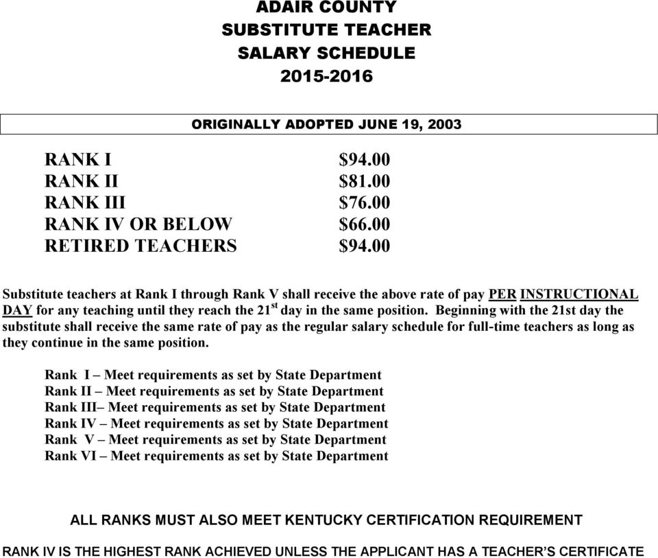 Adair County Board Of Education Classified Salary Schedule Pdf