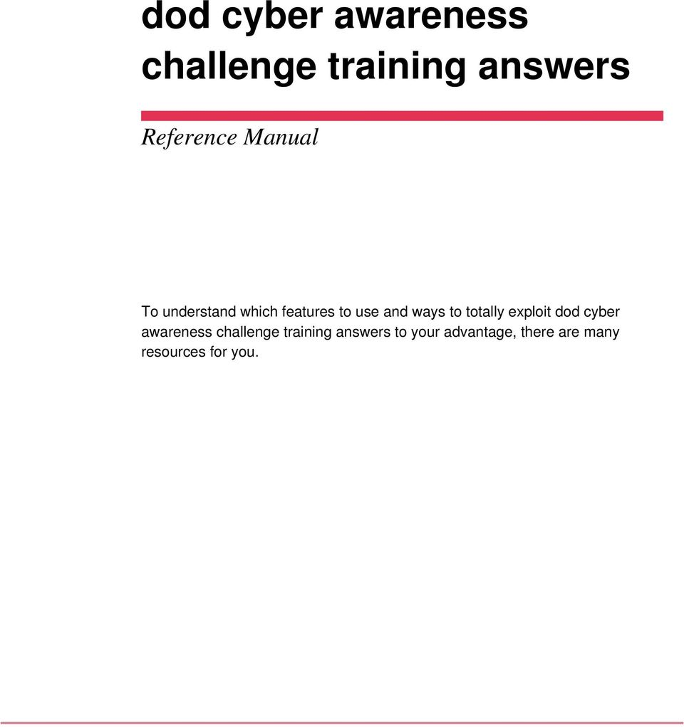 dod cyber awareness challenge training answers - PDF