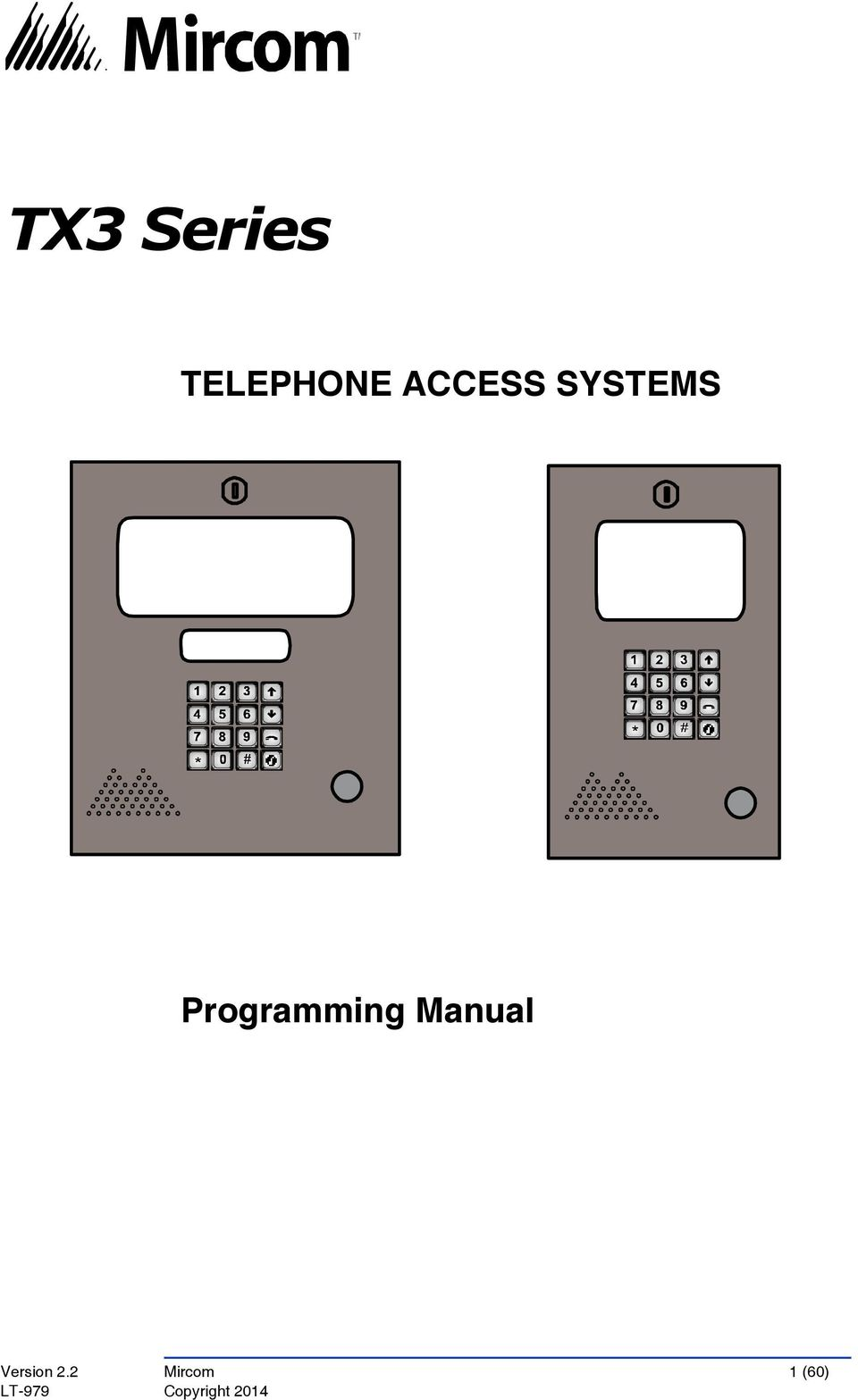 TX3 Series TELEPHONE ACCESS SYSTEMS  Programming Manual - PDF