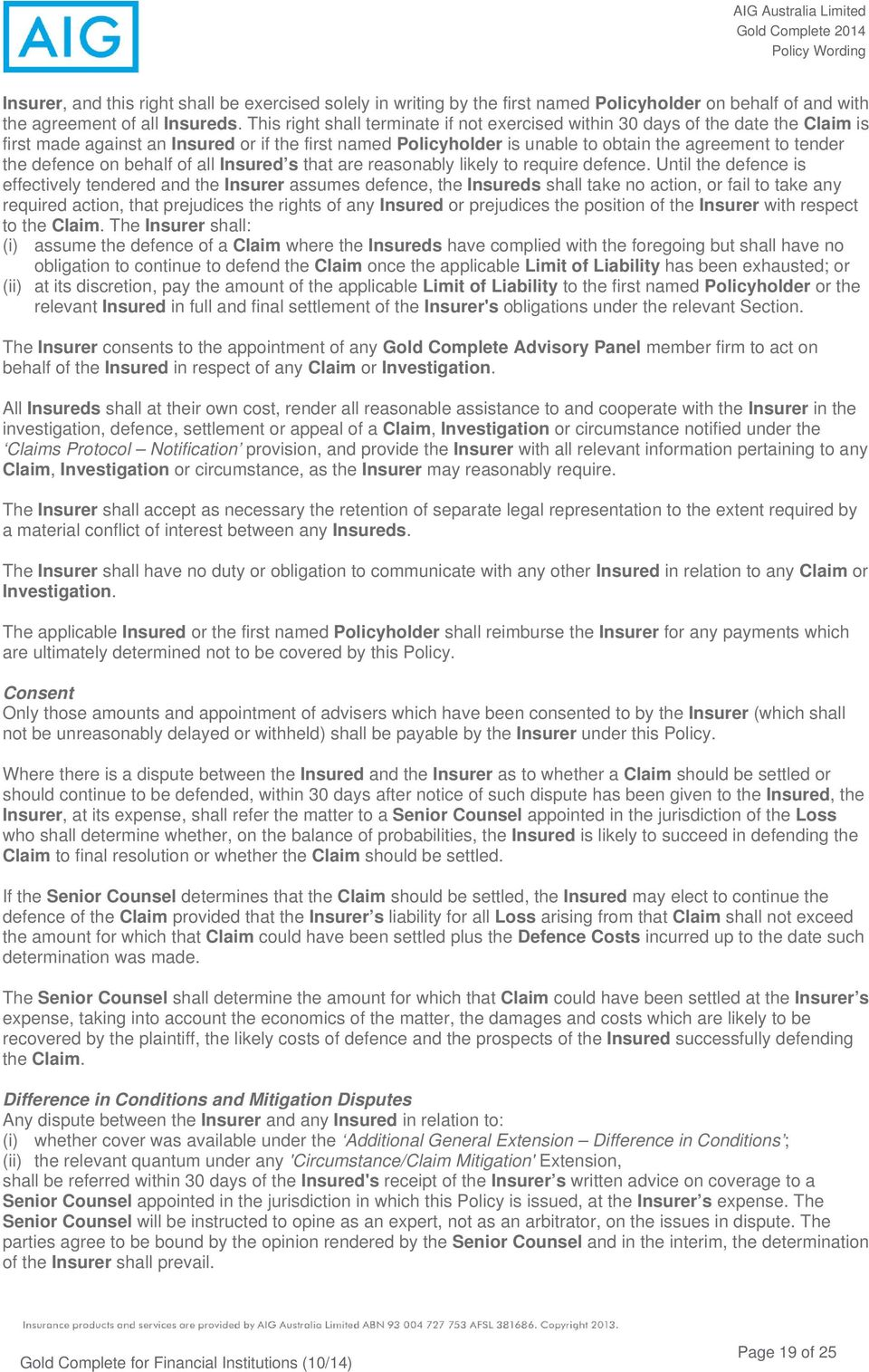 AIG Australia Limited Gold Complete Policy Wording  Policy