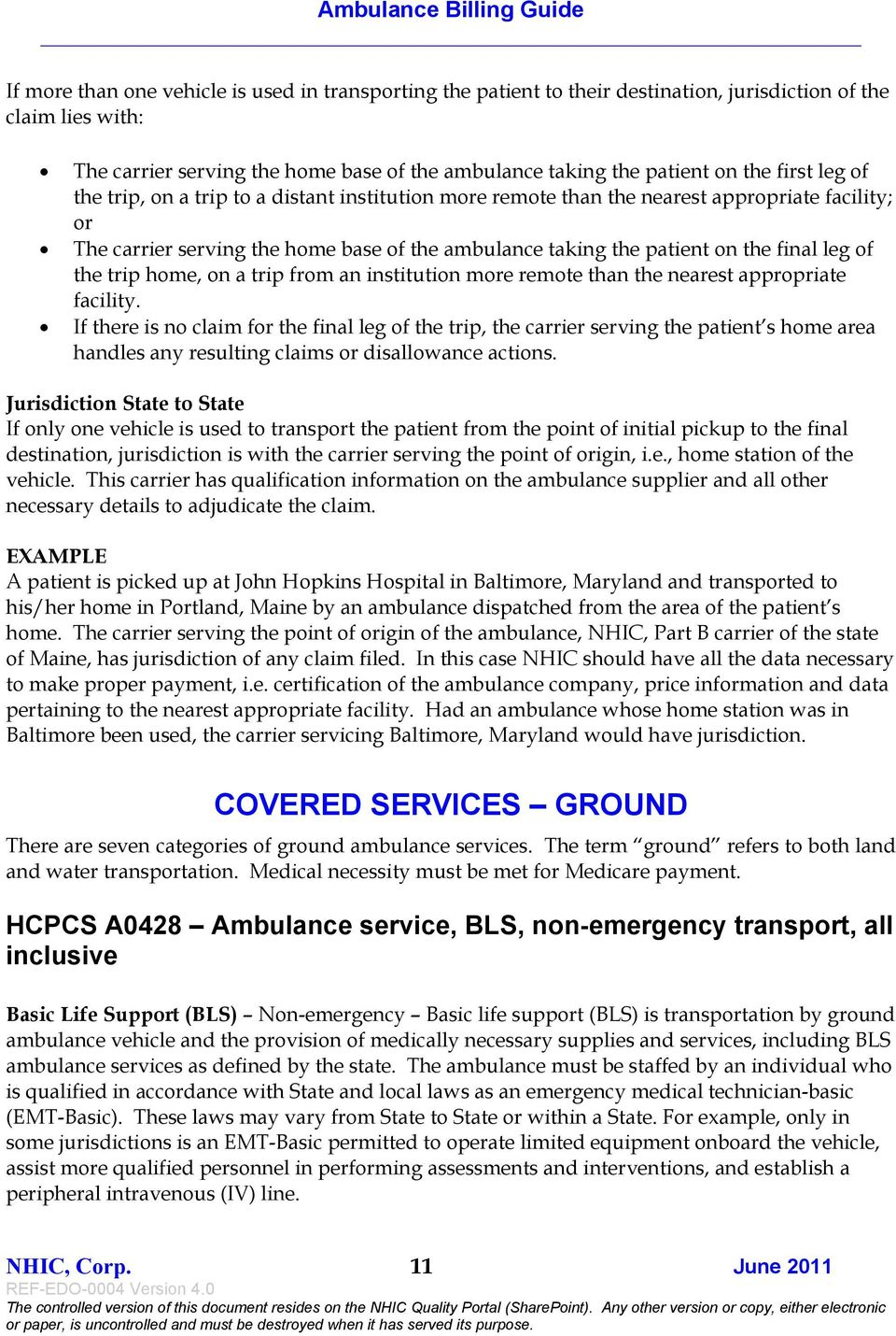 PART B MEDICARE  Ambulance Billing Guide June NHIC, Corp  RT B  REF