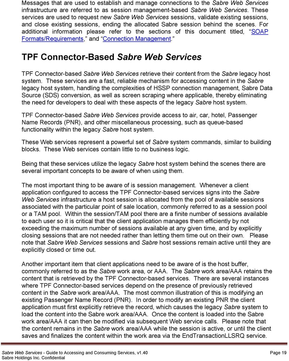 Sabre Web Services  Guide to Accessing and Consuming Services  July