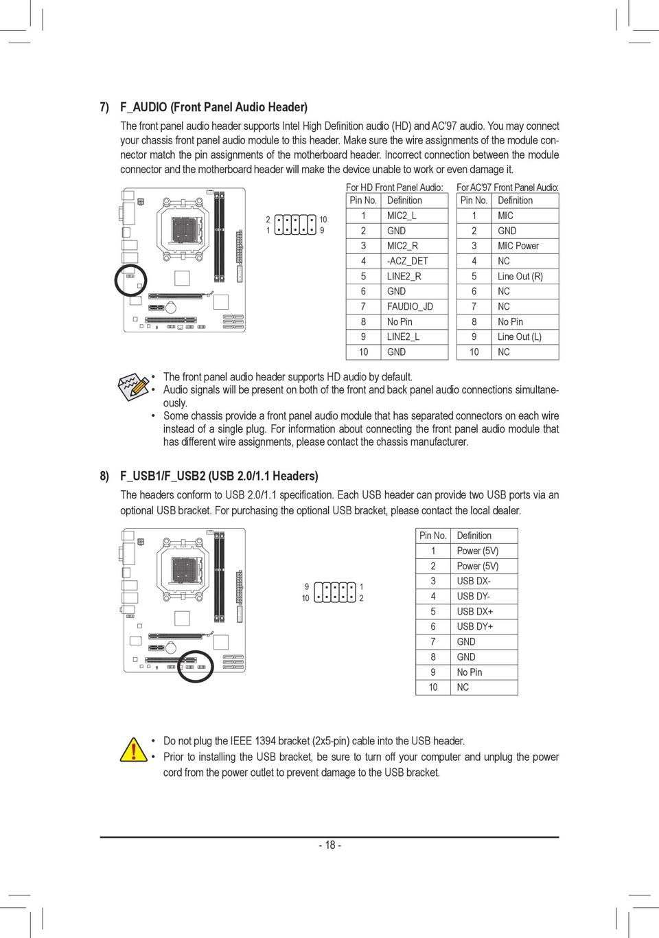 Ga 880gm D2h Users Manual Rev Me 880gd2h 4001r Pdf Wiring Front Panel Usb Also With Motherboard Connector Incorrect Connection Between The Module And Header Will Make Device Unable To