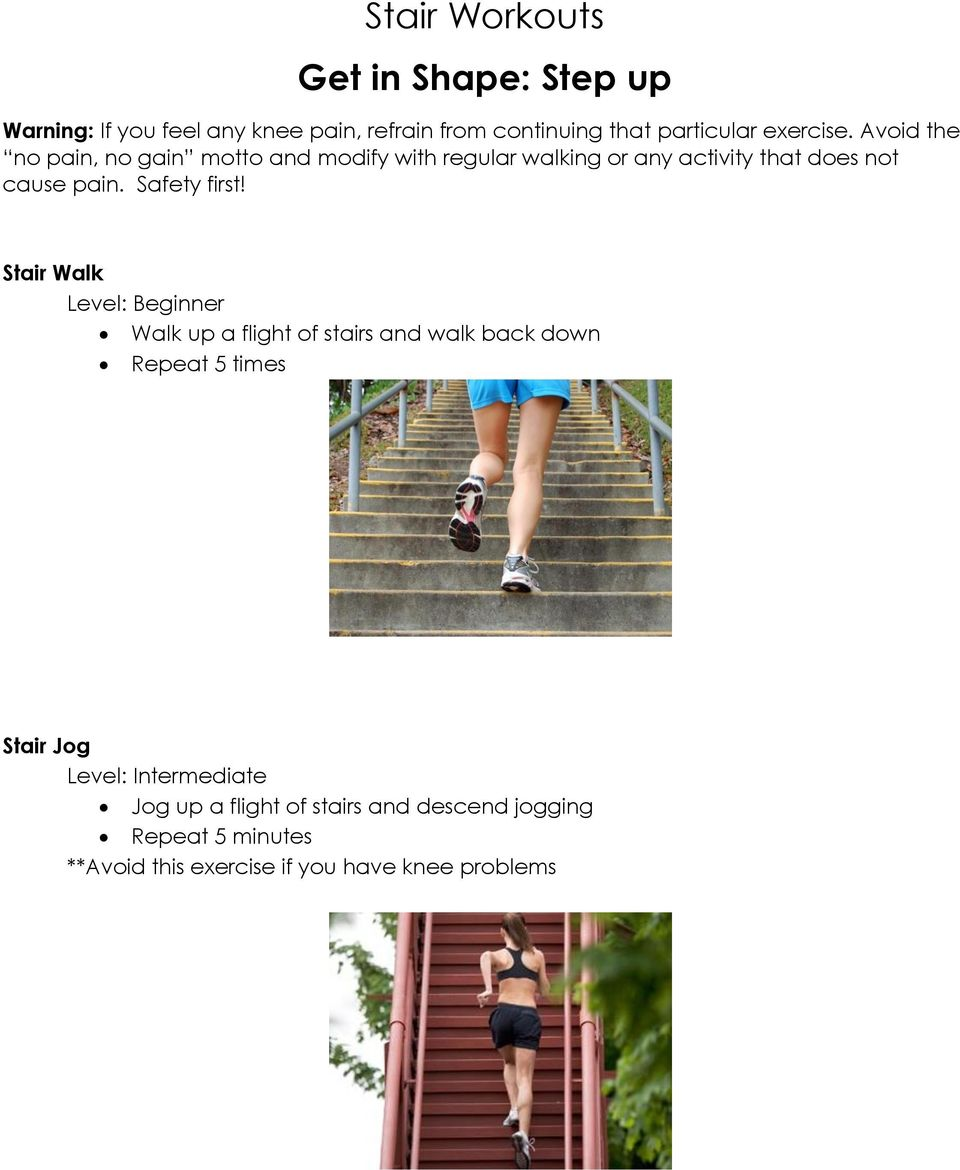 Stair Workouts Get in Shape: Step up - PDF