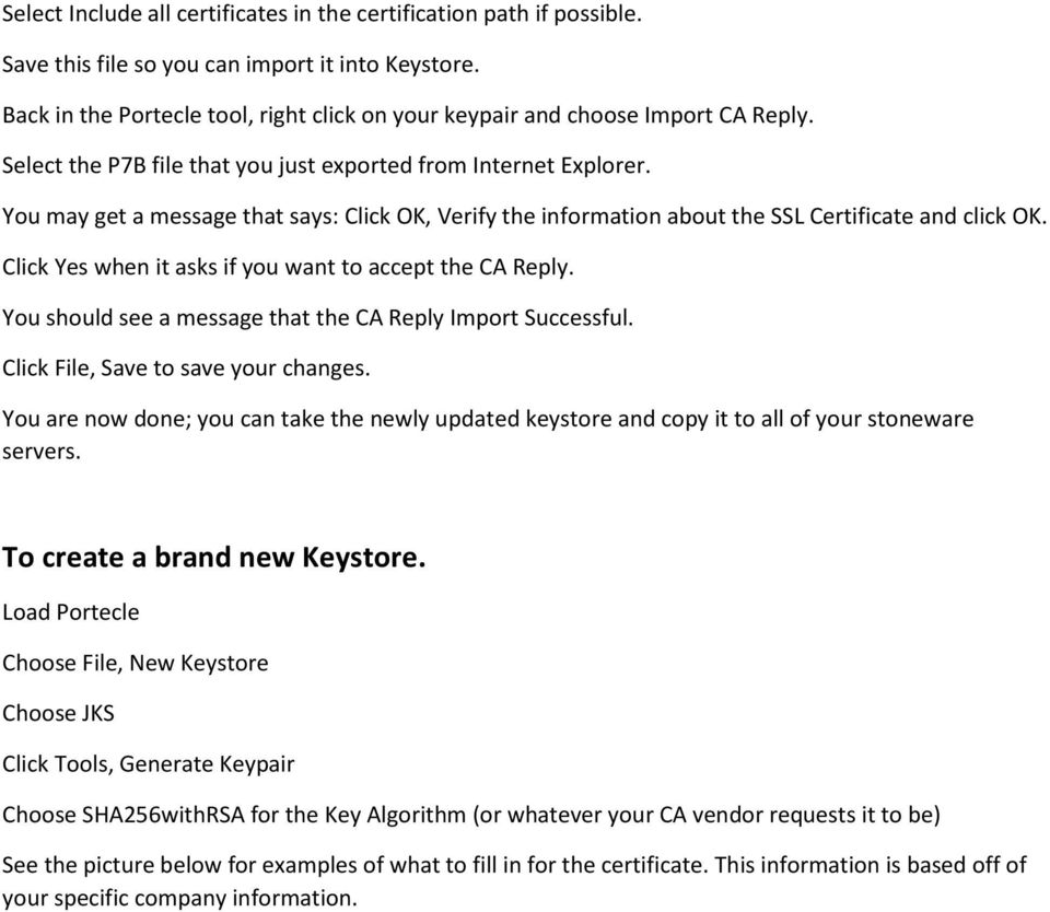 Working With Portecle To Update Create A Java Keystore Pdf