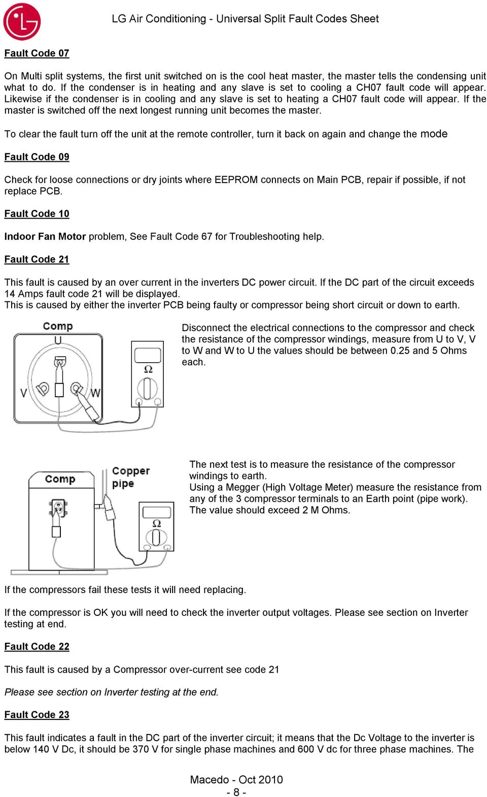 LG Air Conditioning - Universal Split Fault Codes Sheet