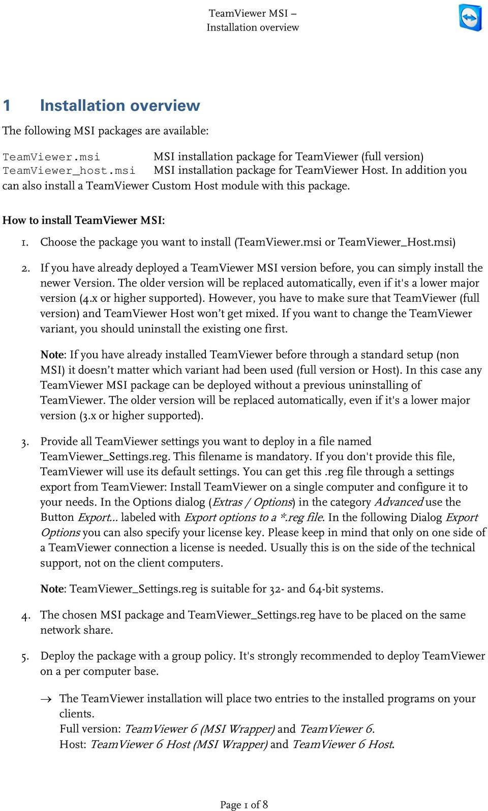 TeamViewer MSI - Installation instructions to deploy