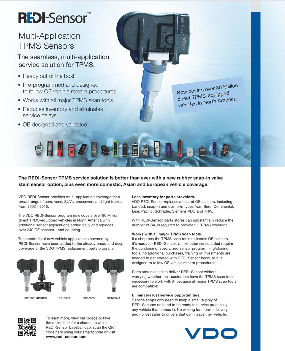 Tpms Replacement Parts 2015 Catalog Pdf G37 Fuse Box Million Direct Equipped Vehicles In North America