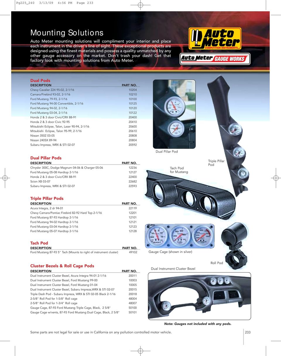 Auto Meter Tachometers Pdf Autometer Cobalt Tach Wiring Diagram Along With Rpm Gauge Get That Factory Look Mounting Solutions From