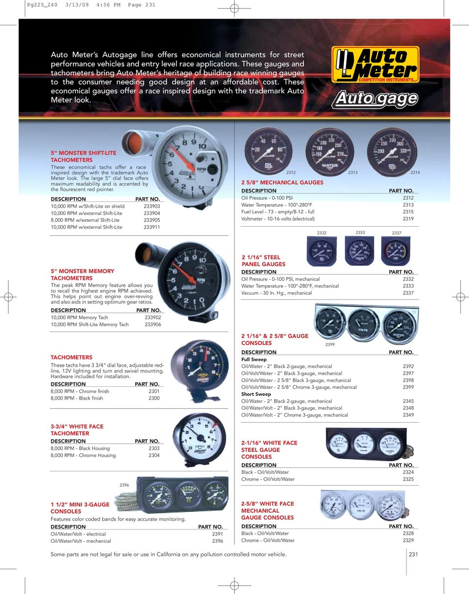 Auto Meter Tachometers Pdf Fuel Pressure Gauge Wiring Diagram Free Download These Economical Gauges Offer A Race Inspired Design With The Trademark Look