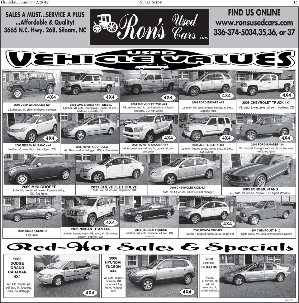 Spotlight surry scene this week s the mount airy news an bedliner cassette cd 2004 chevrolet 2500 v8 leather air tilt fandeluxe Image collections