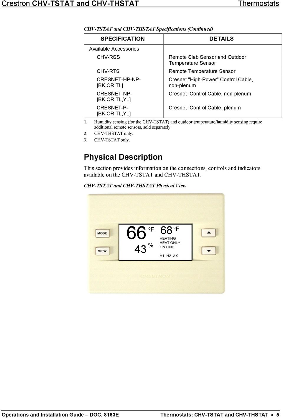 Crestron Chv Tstat Thstat Thermostats Operations And Master Flow H1 Humidistat Wiring Diagram Non Plenum Cresnet Control Cable 1 Humidity Sensing For The