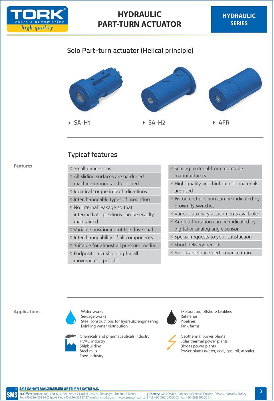 HYDRAULIC PART-TURN ACTUATOR HYDRAULIC SERIES  Fittings