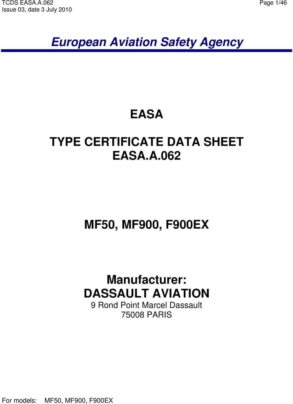 European Aviation Safety Agency Easa Type Certificate Data Sheet