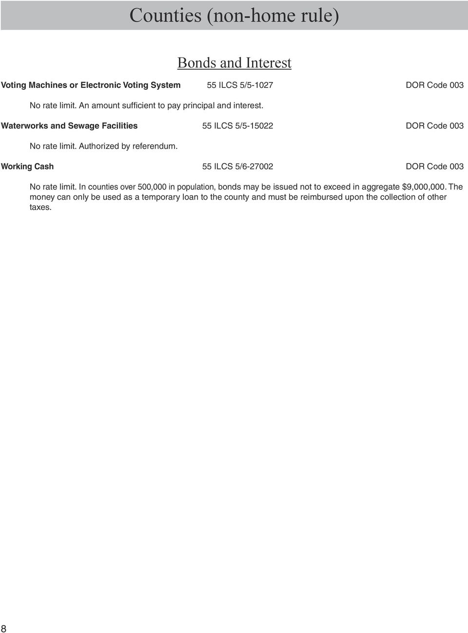 Waterworks And Sewage Facilities 55 ILCS 5 15022 DOR Code 003 Working Cash
