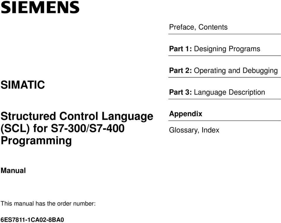 SIMATIC  Structured Control Language (SCL) for S7-300/S7-400