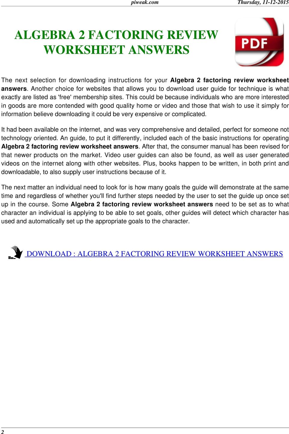 Worksheets Factoring Worksheet Algebra 2 algebra 2 factoring review worksheet answers pdf download this could be because individuals who are more interested in goods contended wi