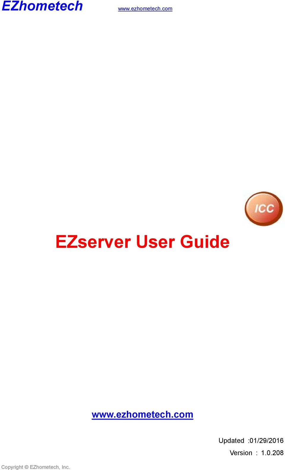 EZhometech  EZserver User Guide  Updated :01/29/2016 Version