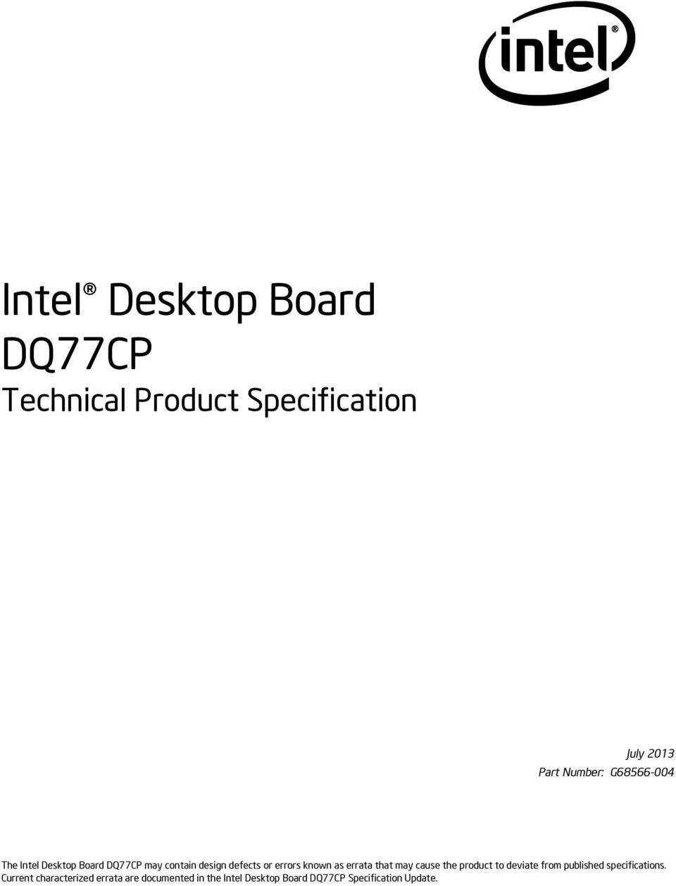 Intel Desktop Board DQ77CP - PDF