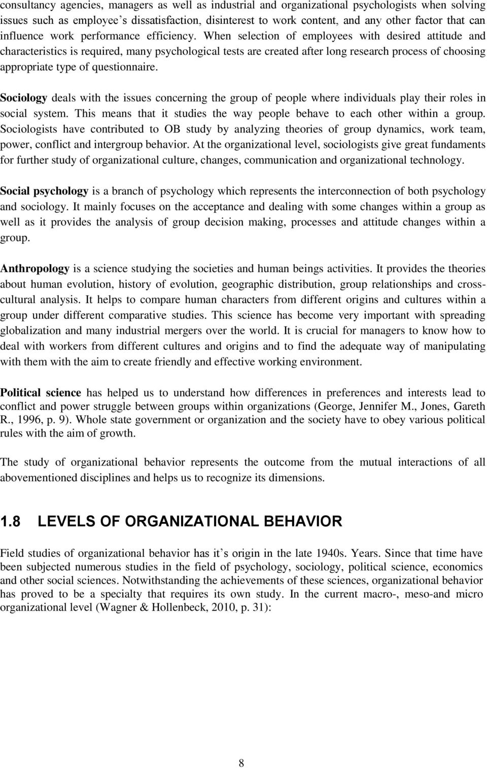Organizational behavior subsystems College paper Example - August