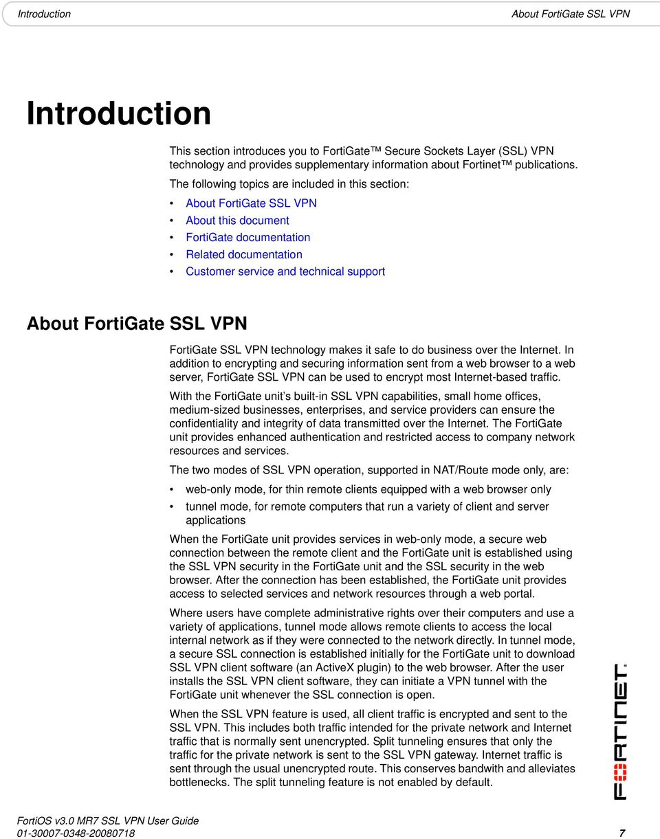 USER GUIDE  FortiOS v3 0 MR7 SSL VPN User Guide  - PDF