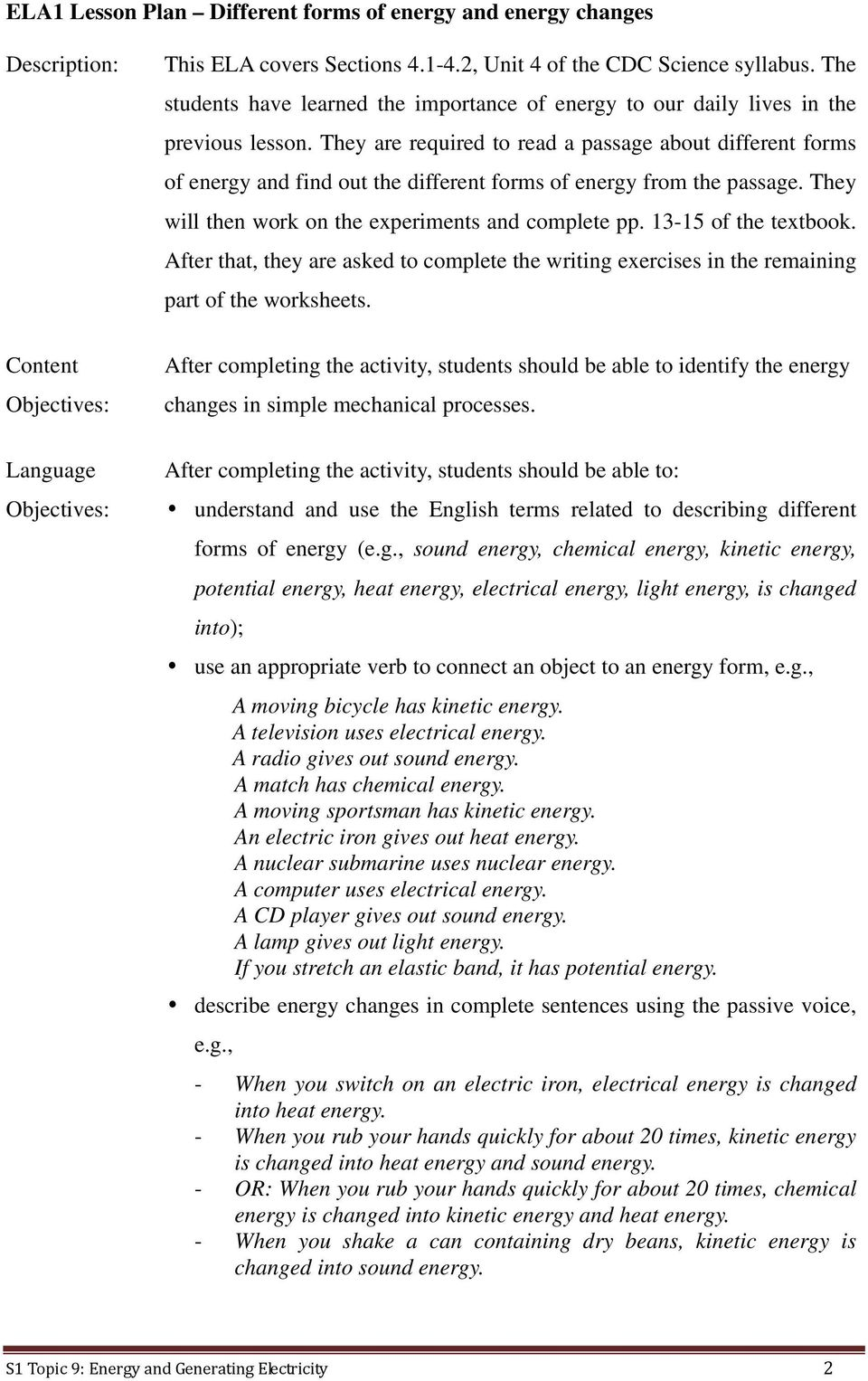 S1 Topic 9 Energy And Generating Electricity Level Kinetics Wiring Diagram They Are Required To Read A Passage About Different Forms Of Find Out The