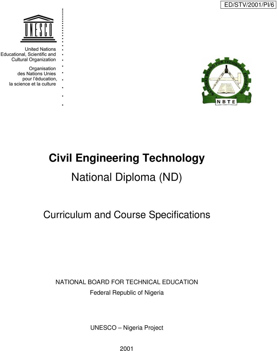 civil engineering technology national diploma nd pdf