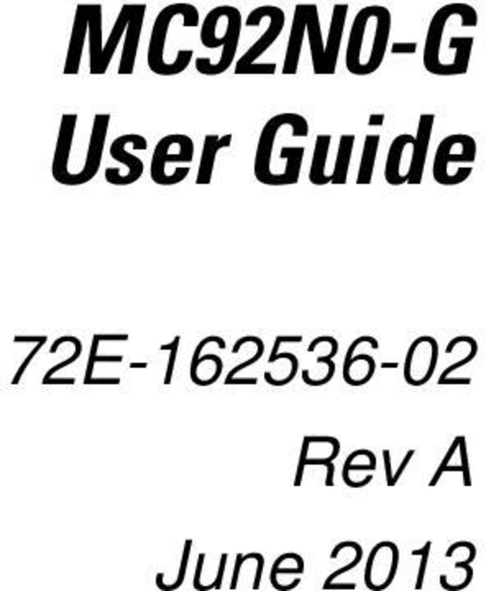MC92N0-G User Guide  72E Rev A June PDF