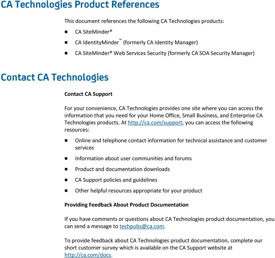 Office, Small Business, and Enterprise CA Technologies products. At http://ca.