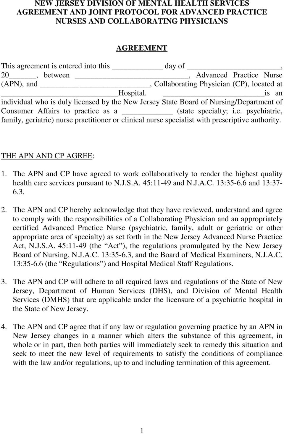 New Jersey Division Of Mental Health Services Agreement And Joint