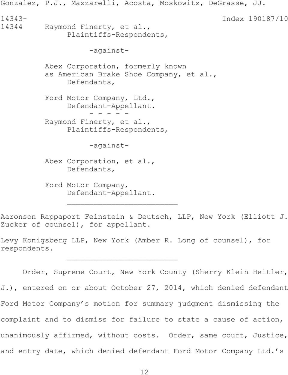 Supreme Court Appellate Division First Department February 26 2015