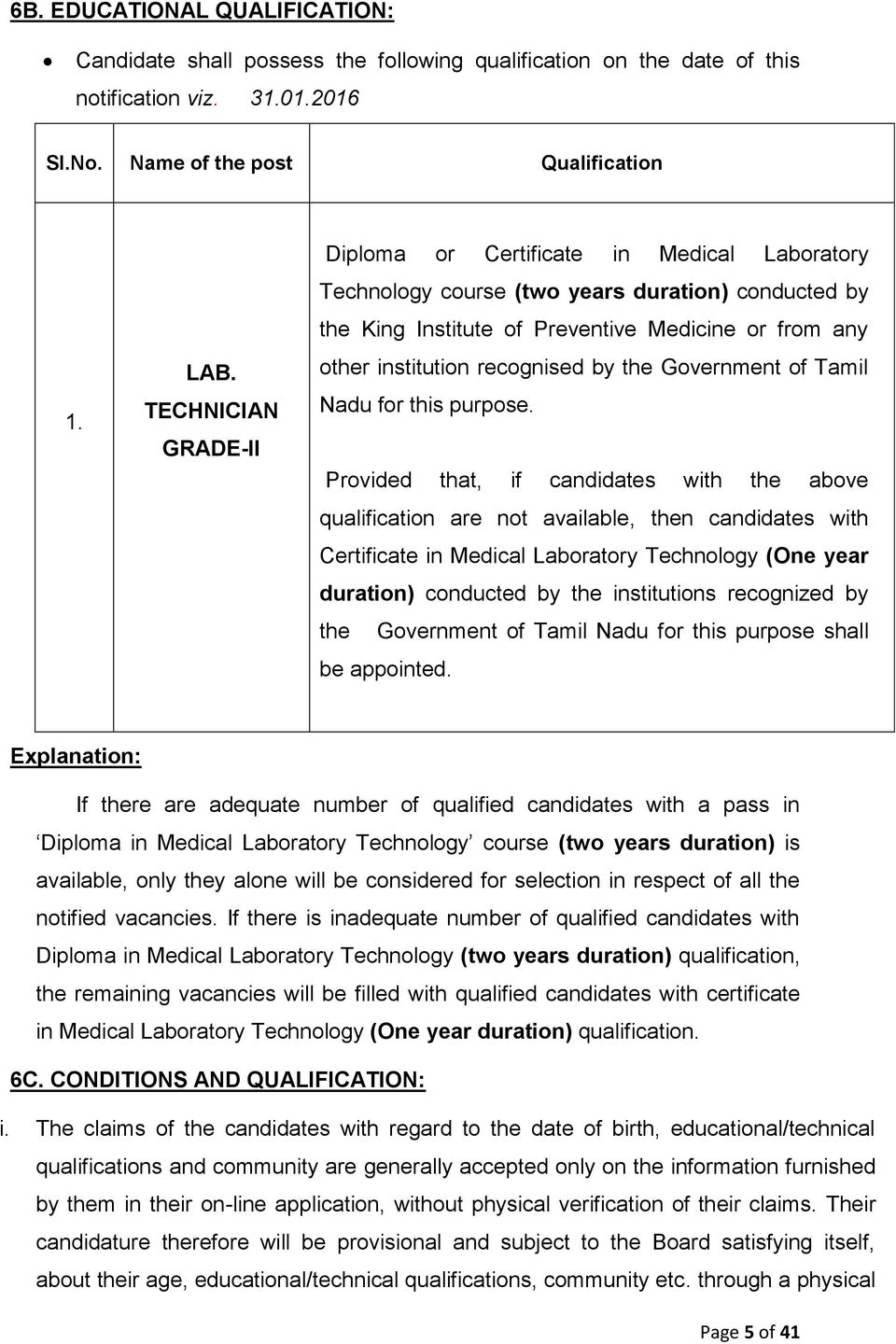 NOTIFICATION NO: 8 / MRB/ 2016 DATE: GOVERNMENT OF TAMIL