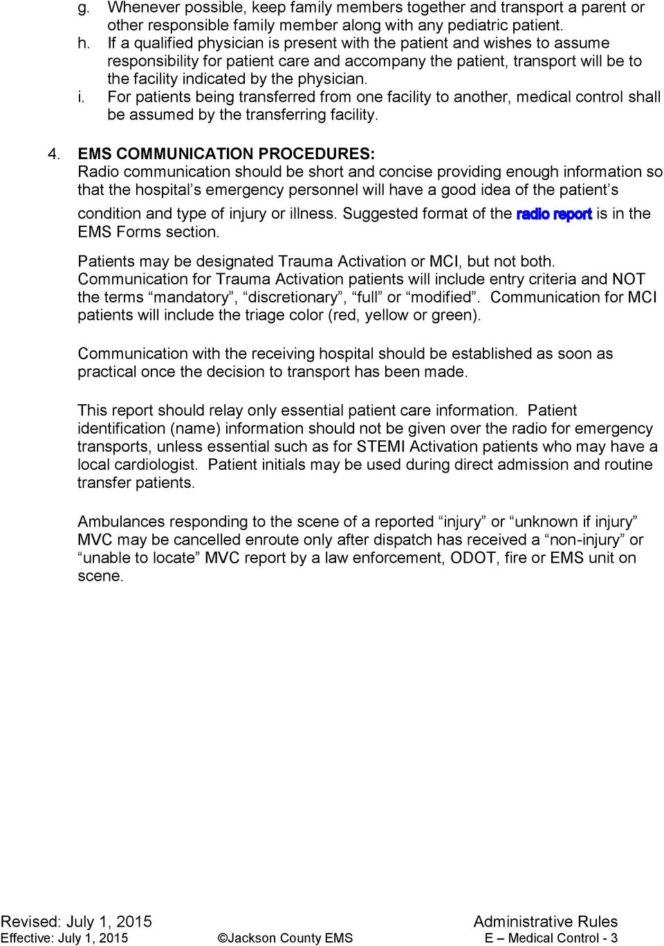 Jackson County EMS Standing Orders - PDF