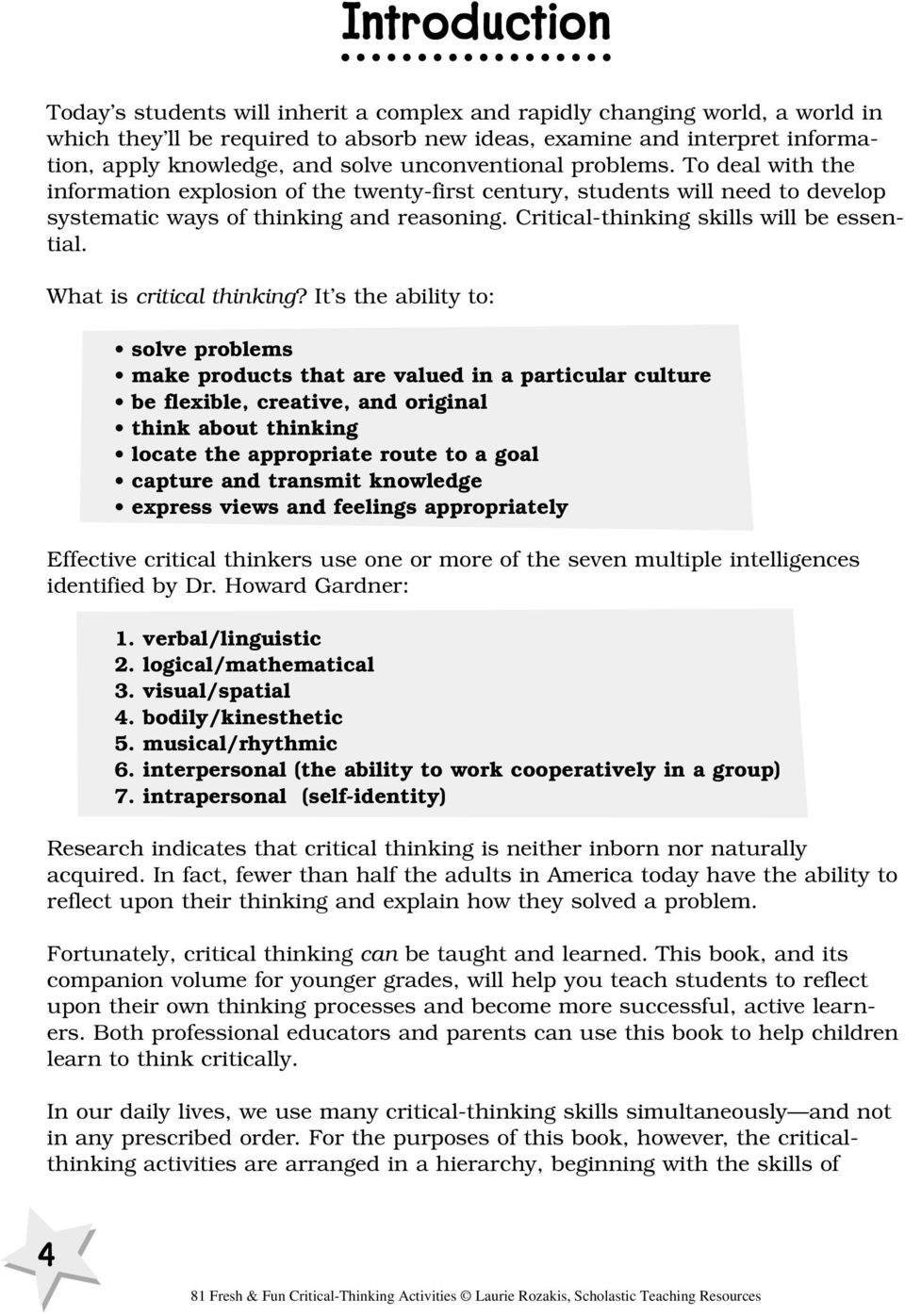 critical thinking activities adults