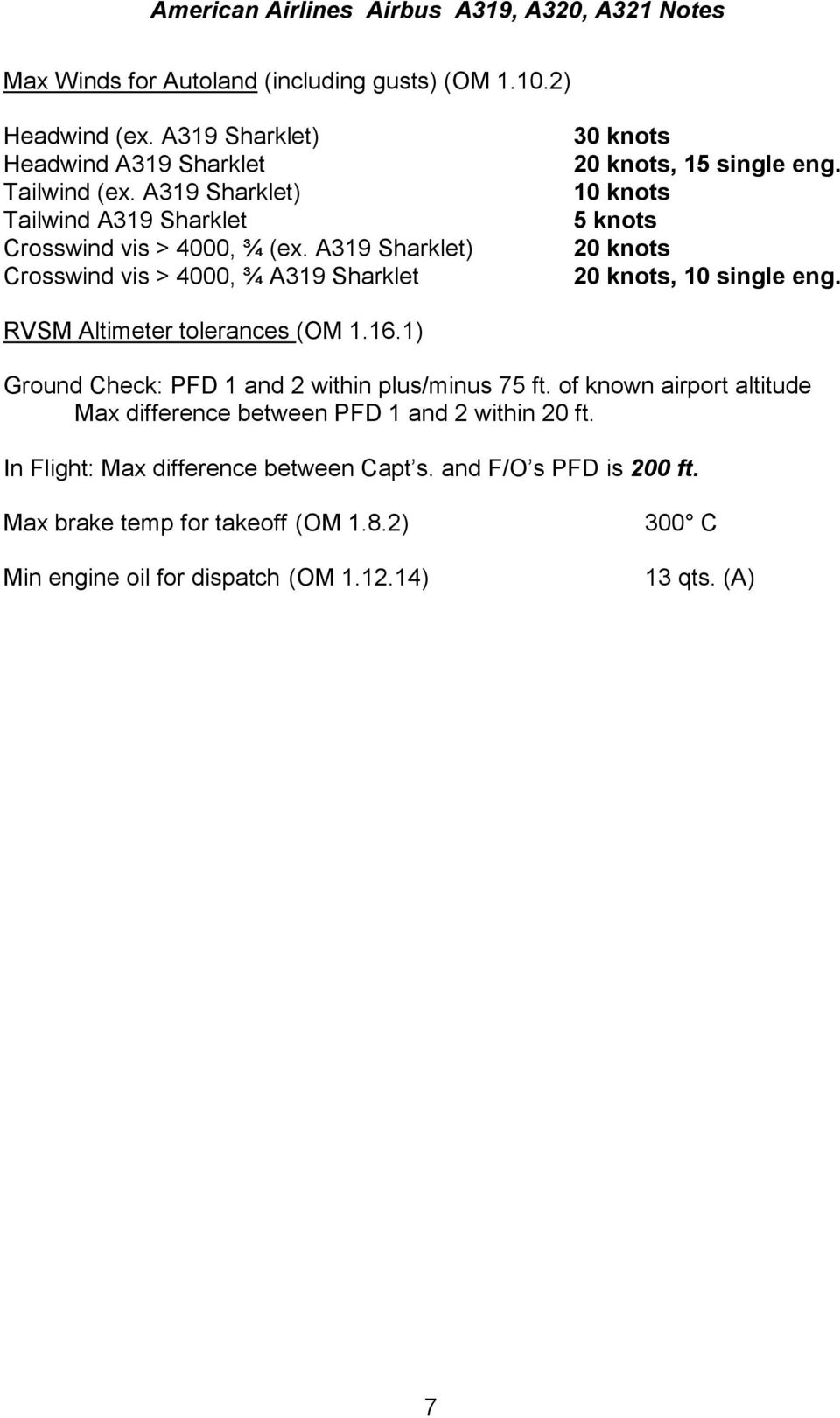 Airbus A319 320 321 Notes Pdf A320 Wiring Harness 10 Knots 5 20 Single Eng Rvsm Altimeter Tolerances