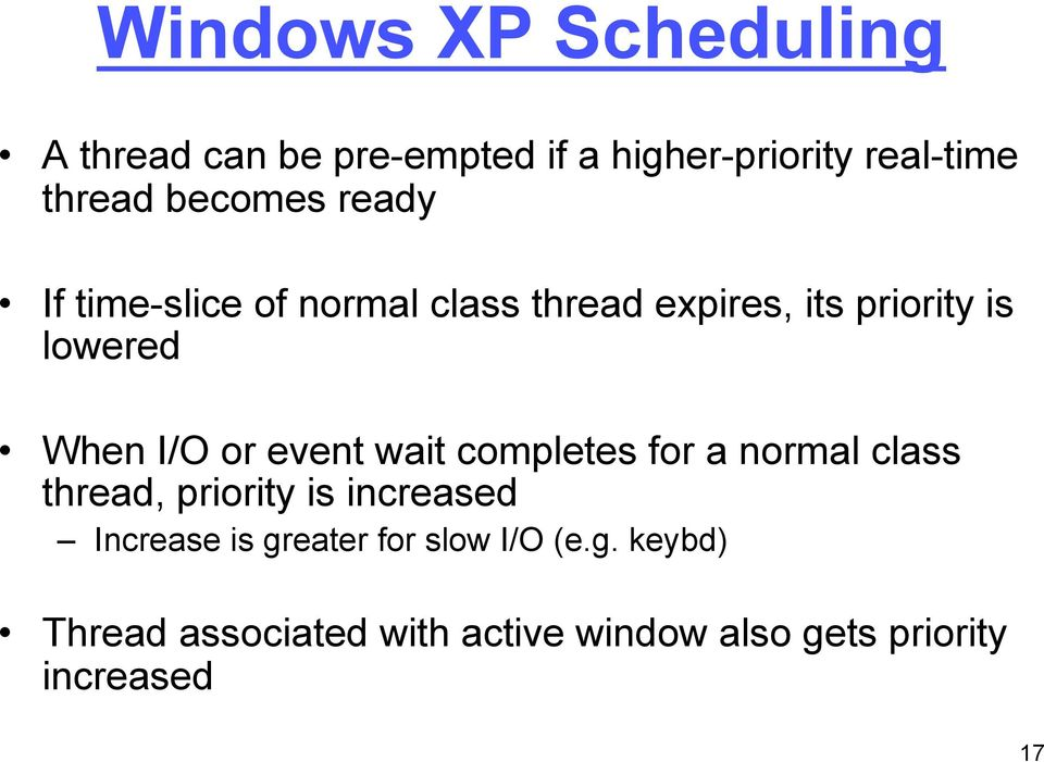 I/O or event wait completes for a normal class thread, priority is increased Increase is