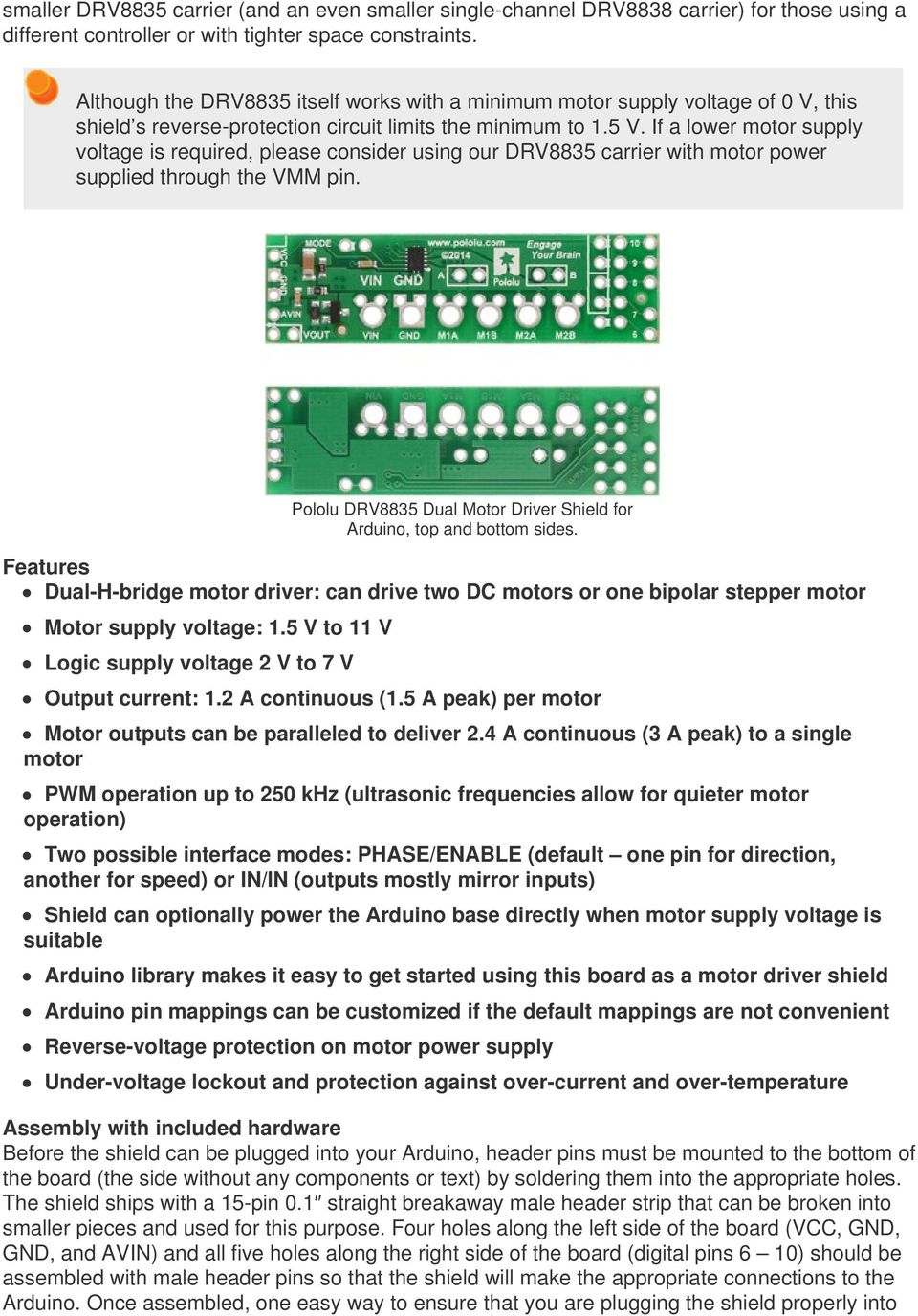 Pololu Drv8835 Dual Motor Driver Shield For Arduino Pdf Gt Control Circuits A Dc Pwm Speed Circuit If Lower Supply Voltage Is Required Please Consider Using Our Carrier With