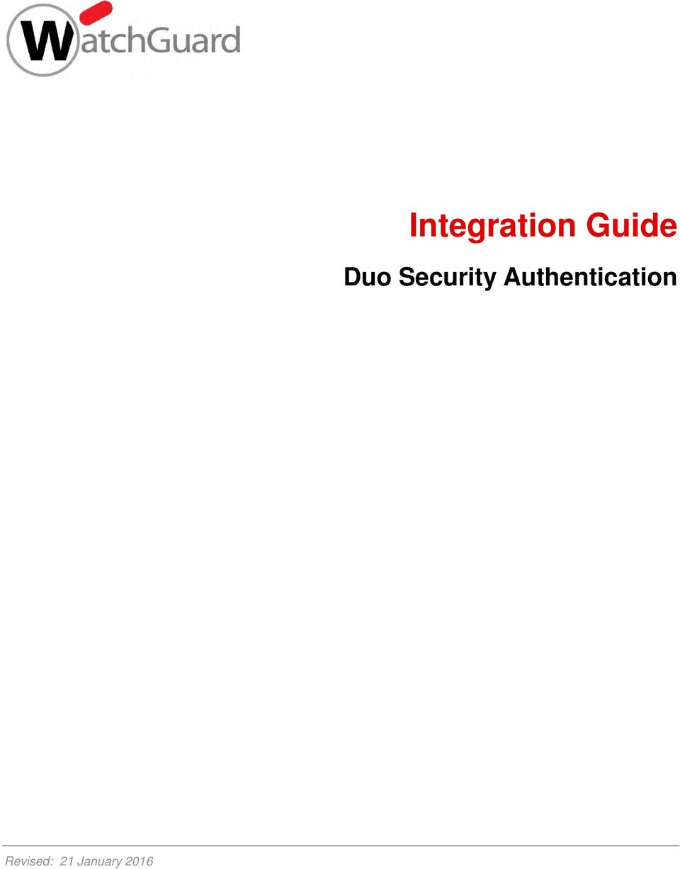 Integration Guide  Duo Security Authentication - PDF