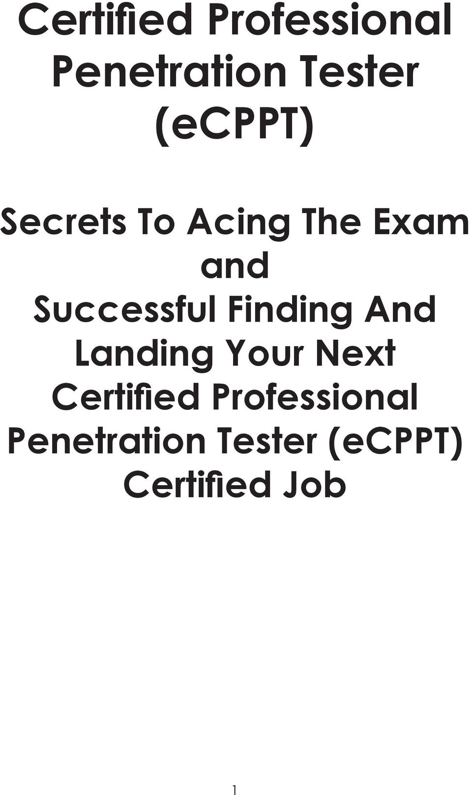 Certified Professional Penetration Tester Ecppt Pdf