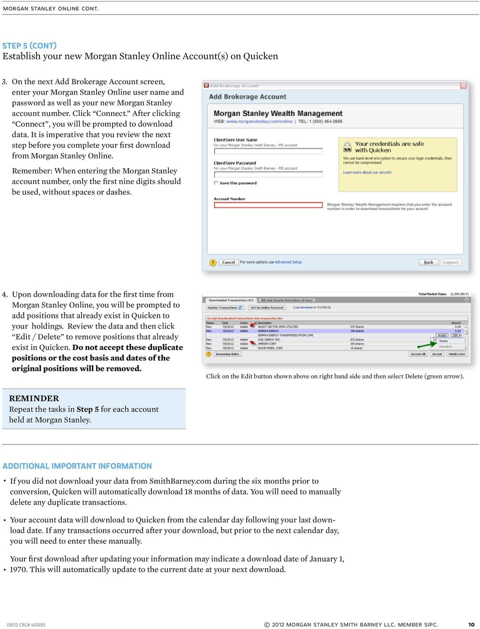 Update Quicken with your Morgan Stanley Online Account Information - PDF