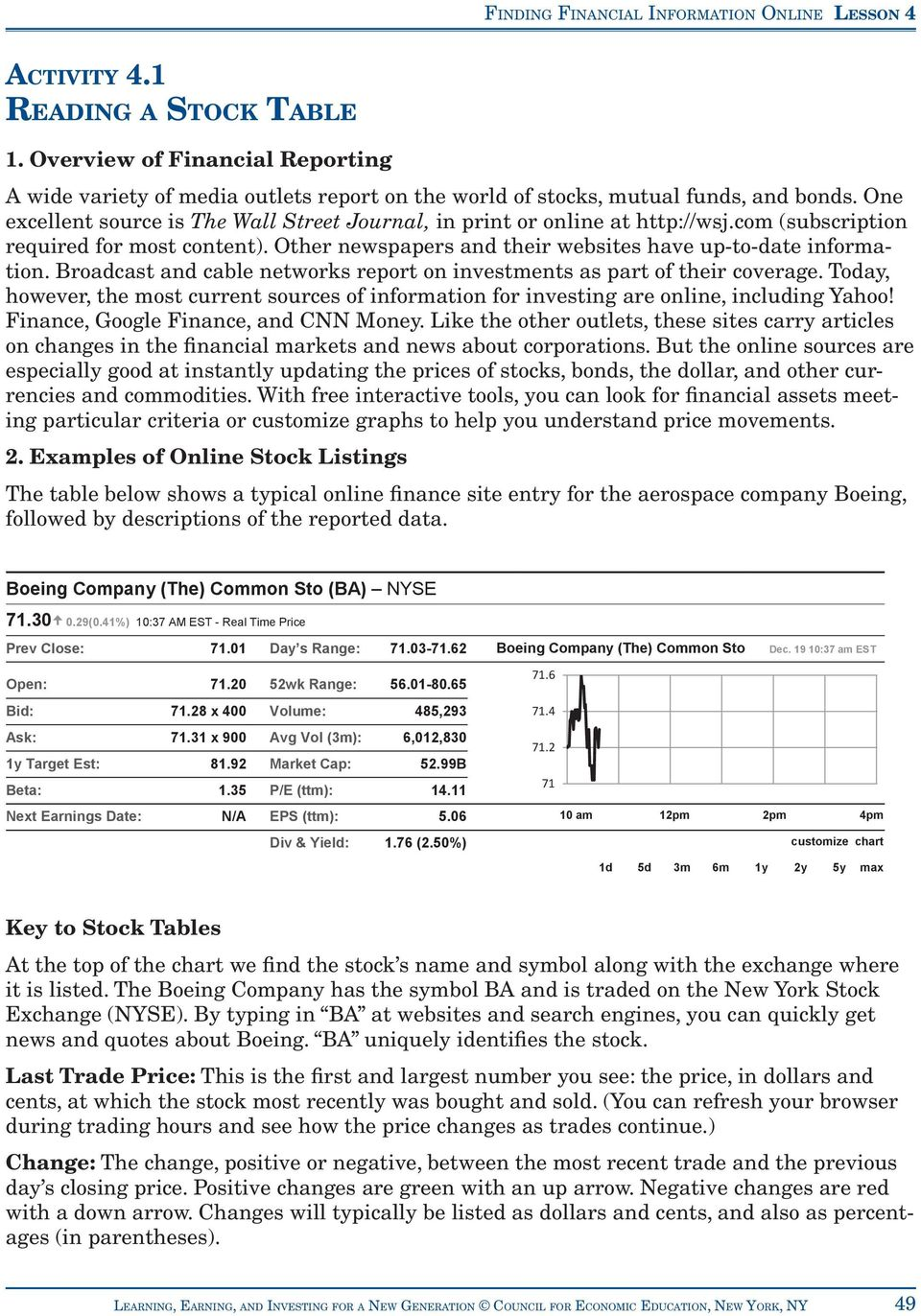 Activity 4 1 Reading A Stock Table Pdf Free Download [ 1372 x 960 Pixel ]