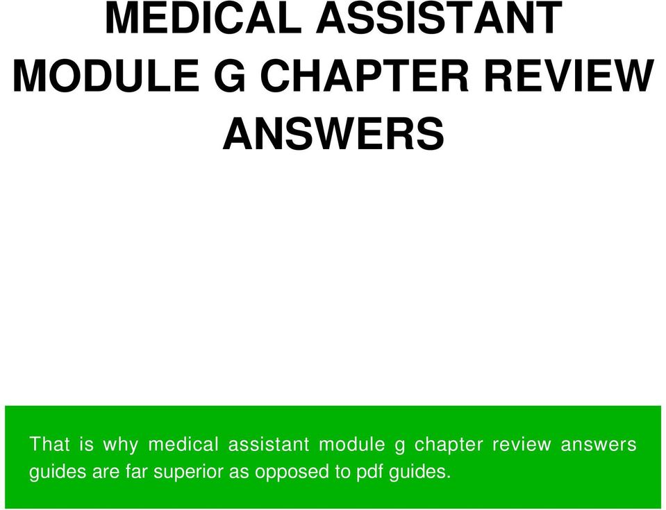 Medical assistant module g chapter review answers pdf assistant module g chapter review fandeluxe