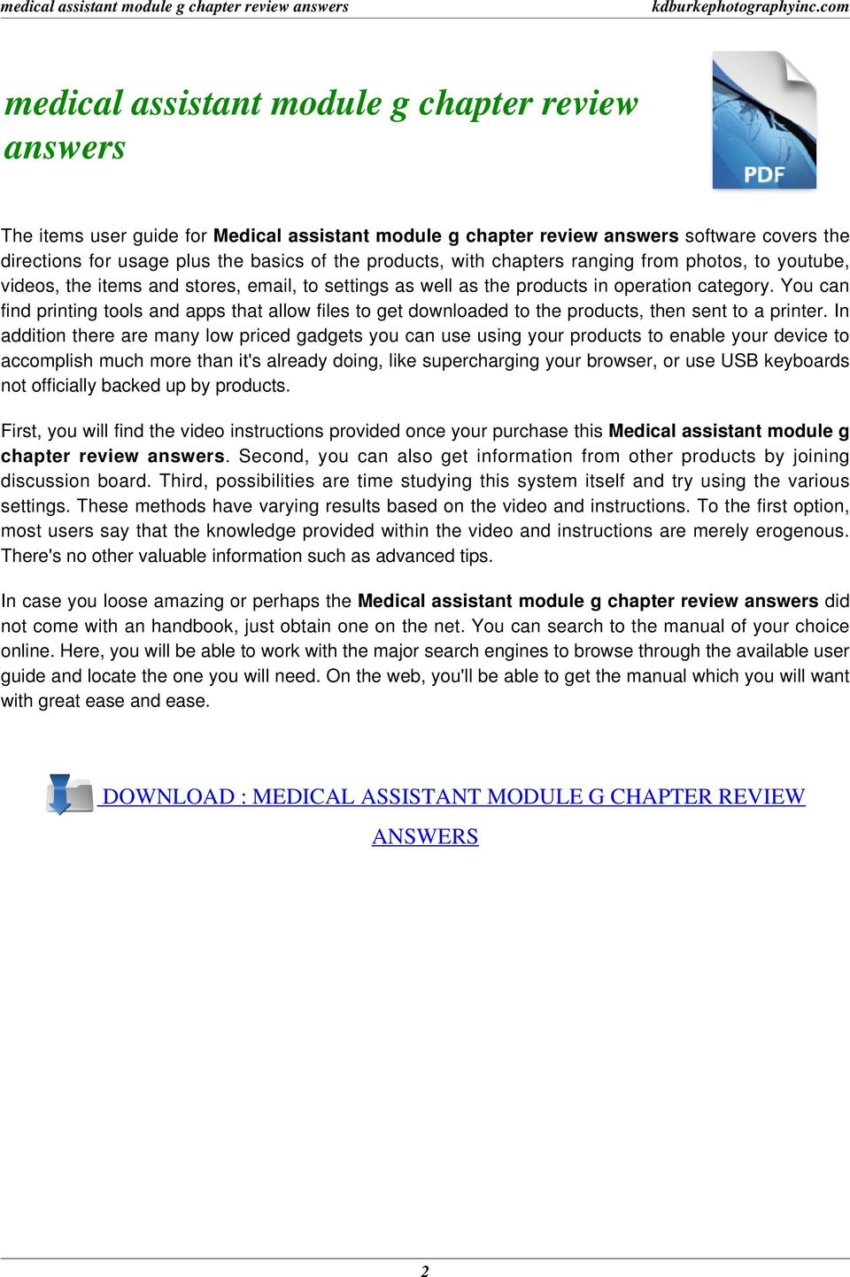 Medical assistant module g chapter review answers pdf download medical assistant module g chapter review answers 2 you can find printing tools and apps that allow files to get downloaded to the products fandeluxe