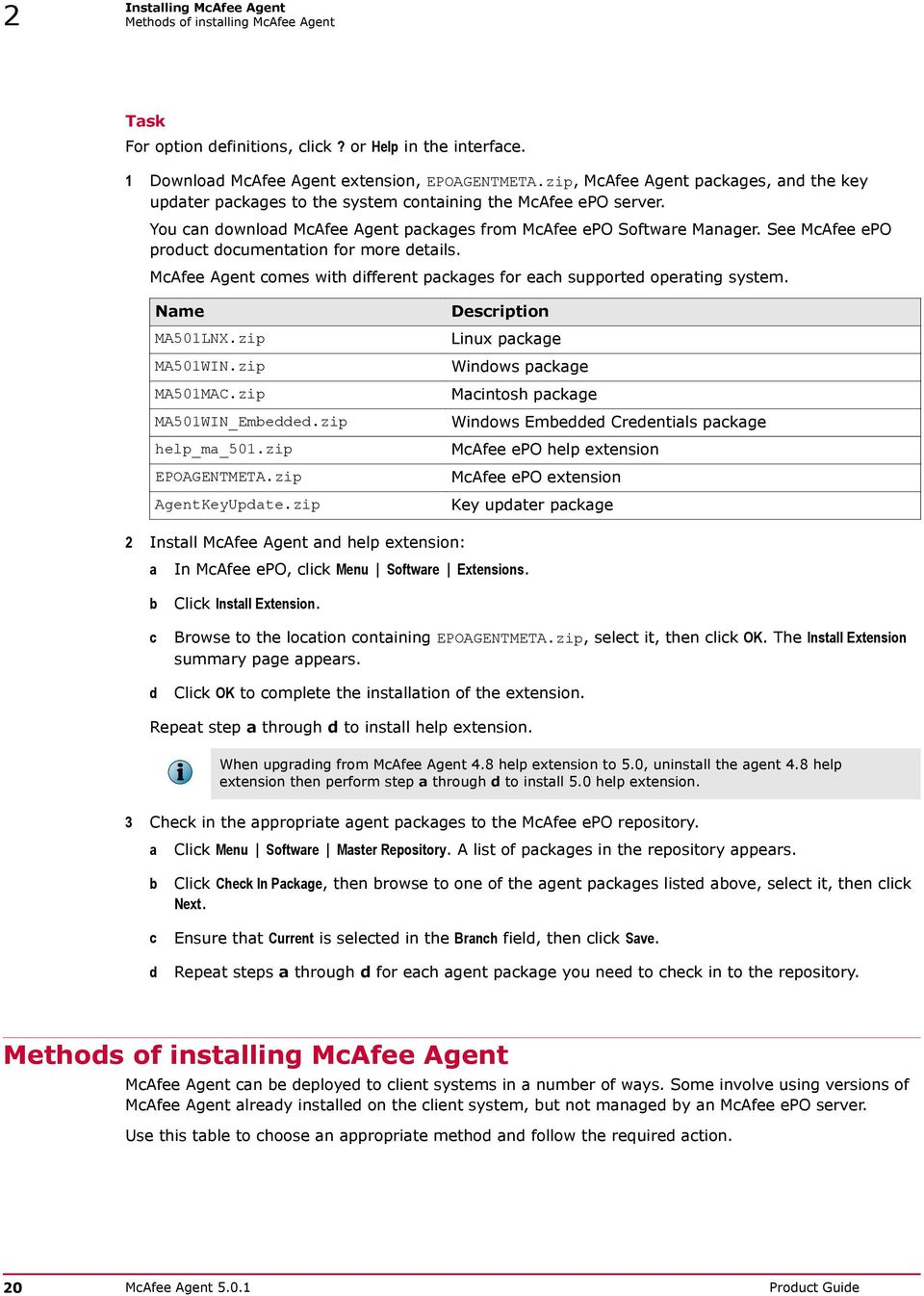 Product Guide  McAfee Agent For use with McAfee epolicy Orchestrator