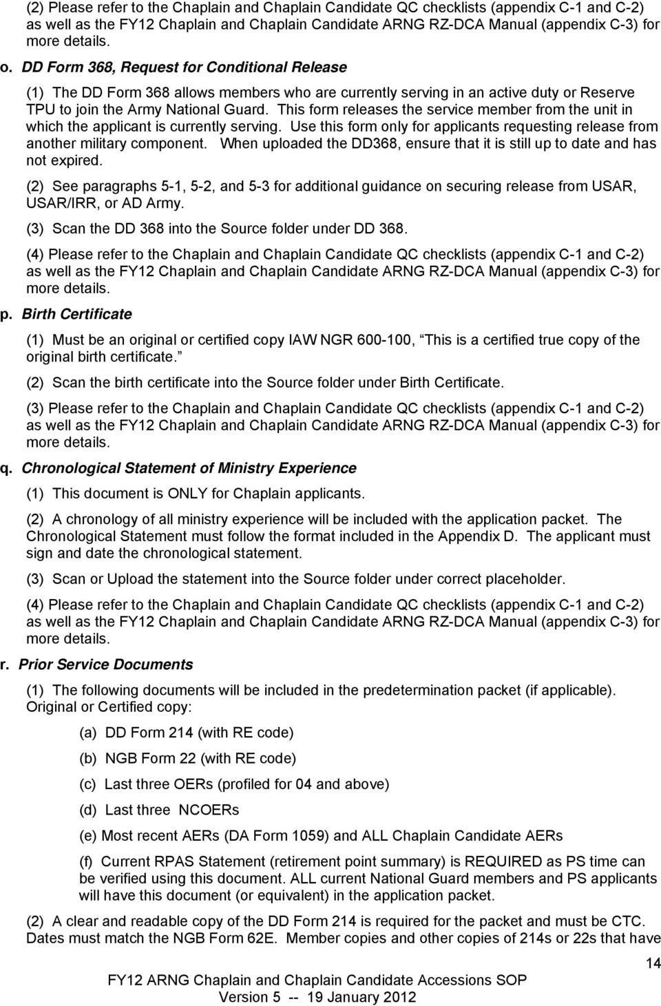 Fy12 Army National Guard Standard Operating Procedures For Chaplain