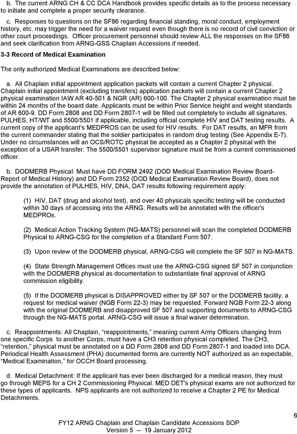 FY12 ARMY NATIONAL GUARD STANDARD OPERATING PROCEDURES FOR