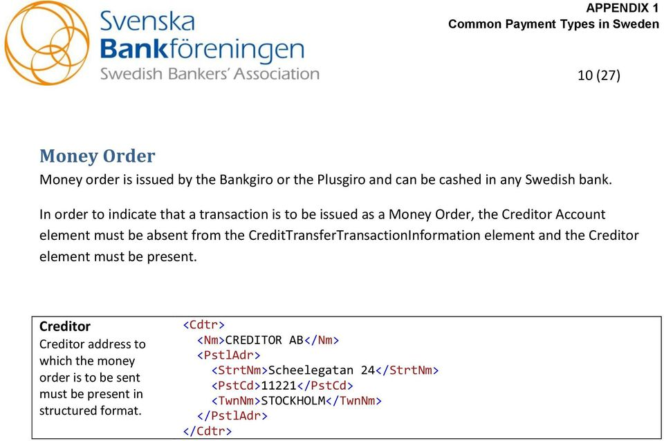 Iso Payment Messages Endix
