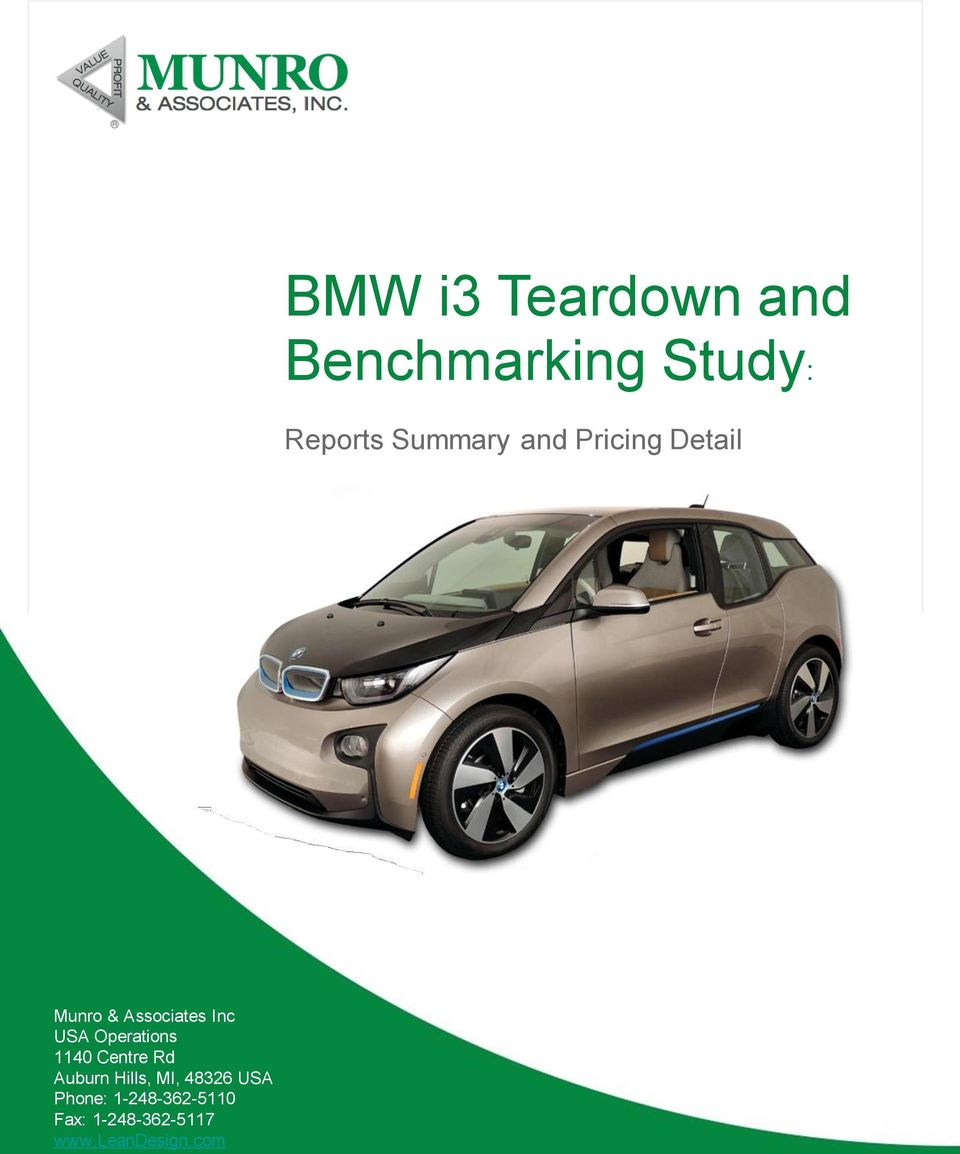 Bmw I3 Teardown And Benchmarking Study Pdf Wiring Harness Operations 1140 Centre Rd Auburn Hills Mi 48326 Usa