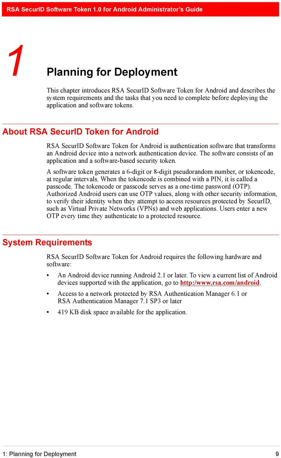 RSA SecurID Software Token 1 0 for Android Administrator s