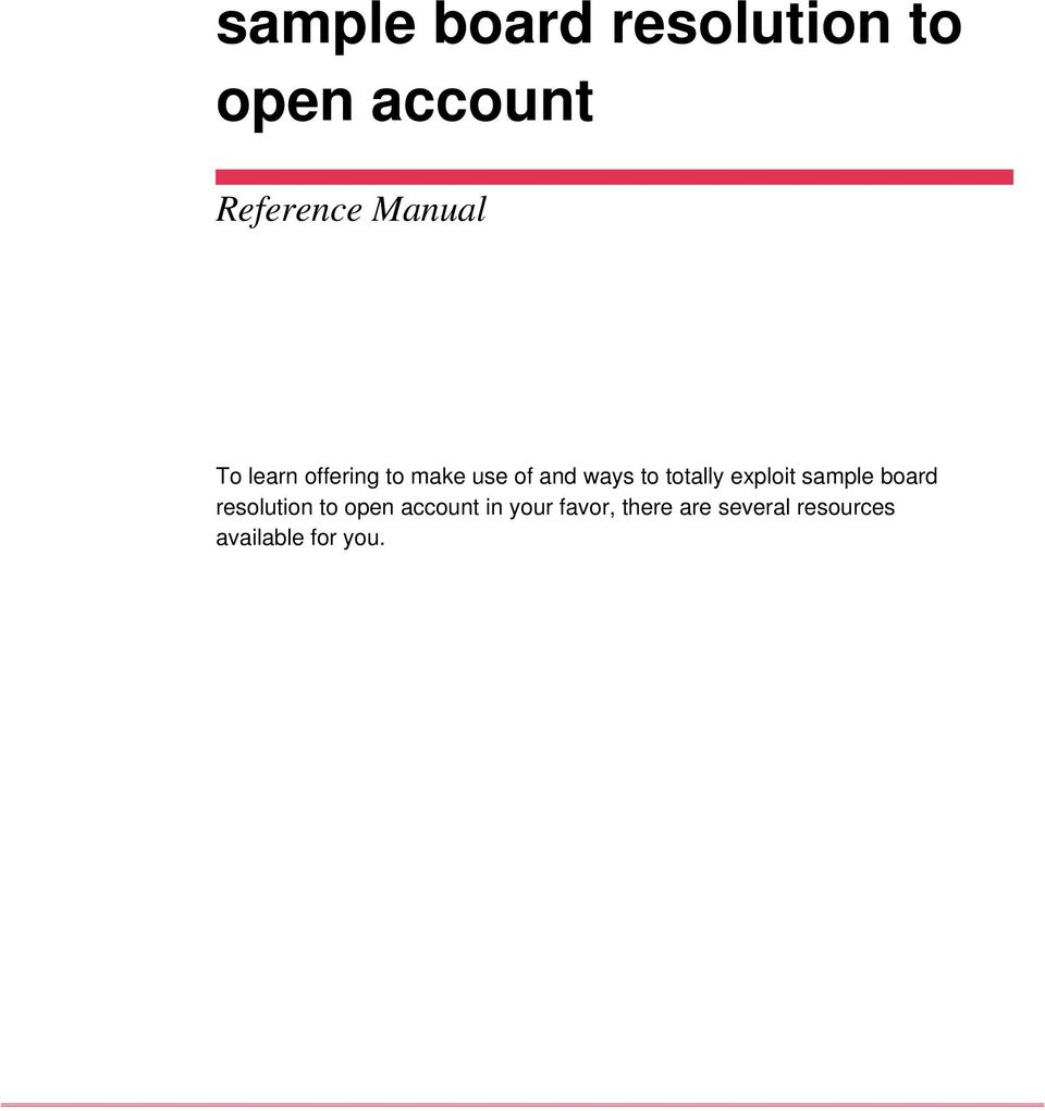 Sample Board Resolution To Open Account Pdf